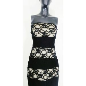 Strapless lace and black dress size large